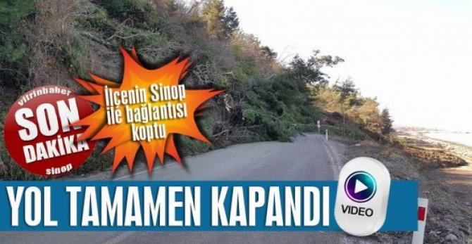 Heyelan Sinop-Ayancık yolunu kapattı