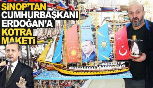 Cumhurbaşkanı Erdoğan için kotra maketi yaptı