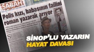 Sinop'lu yazarın ilginç hikayesi Sabah'ın manşetinde