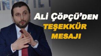 İl Başkanı Ali Çöpçü'den teşekkür