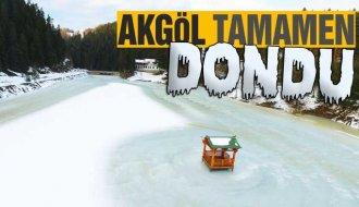 Doğa harikası Sinop Akgöl buz tuttu